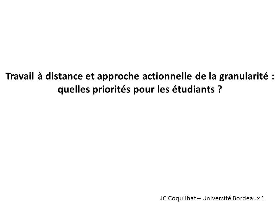Travail à distance et approche actionnelle de la granularité : quelles priorités pour les étudiants .