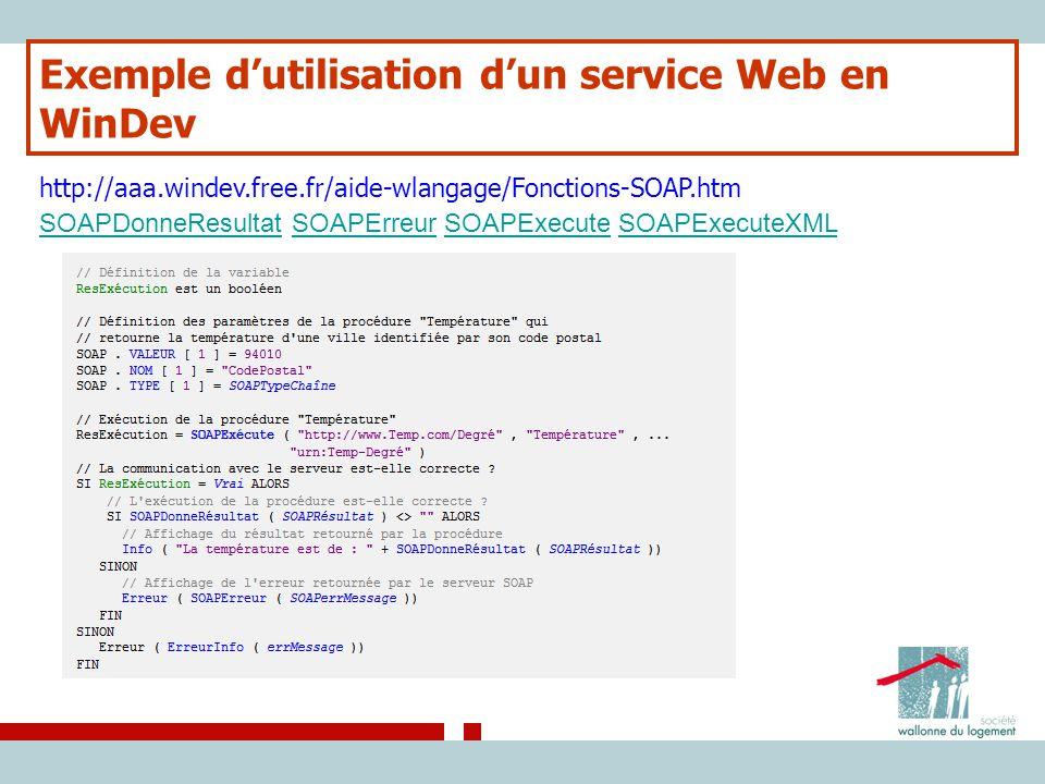 Exemple d'utilisation d'un service Web en WinDev http://aaa.windev.free.fr/aide-wlangage/Fonctions-SOAP.htm SOAPDonneResultatSOAPDonneResultat SOAPErr