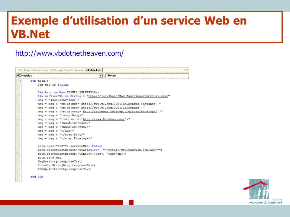 Exemple d'utilisation d'un service Web en VB.Net http://www.vbdotnetheaven.com/