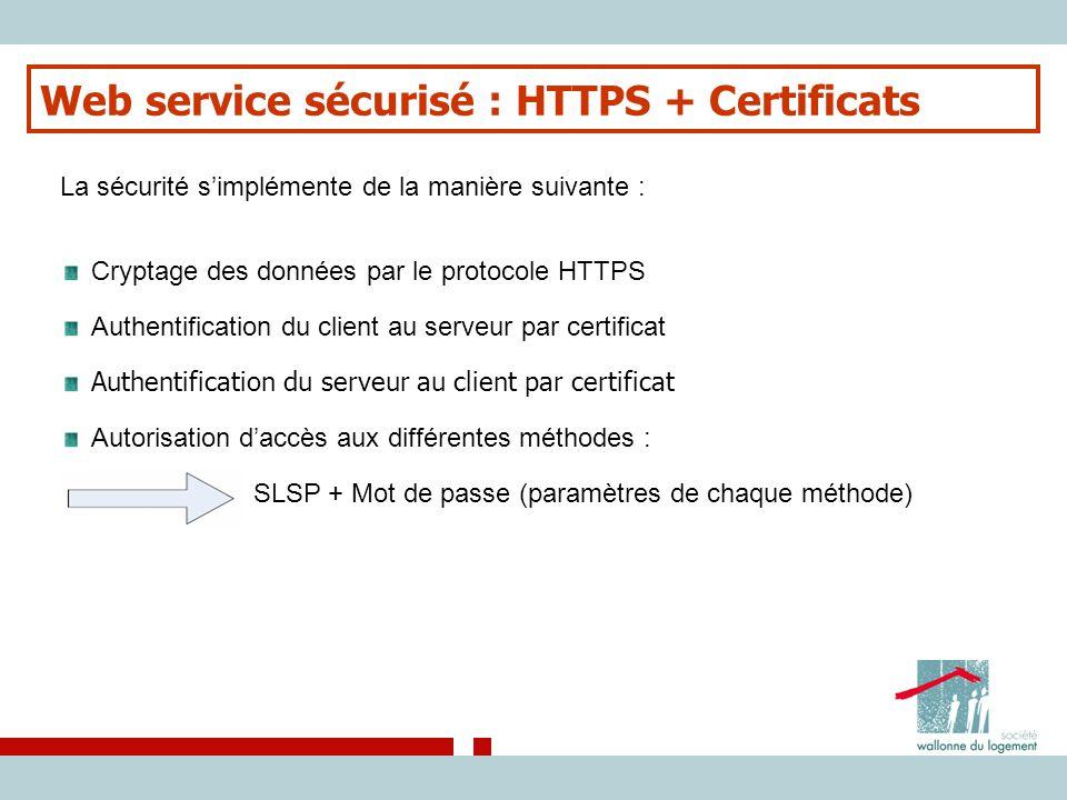 Web service sécurisé : HTTPS + Certificats La sécurité s'implémente de la manière suivante : Cryptage des données par le protocole HTTPS Authentificat