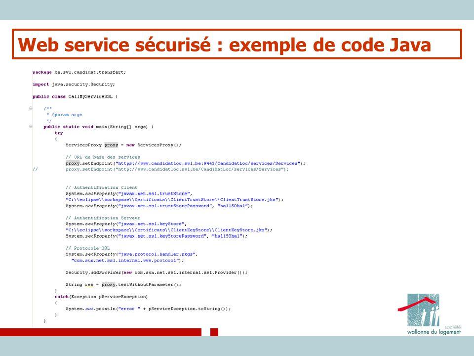 Web service sécurisé : exemple de code Java