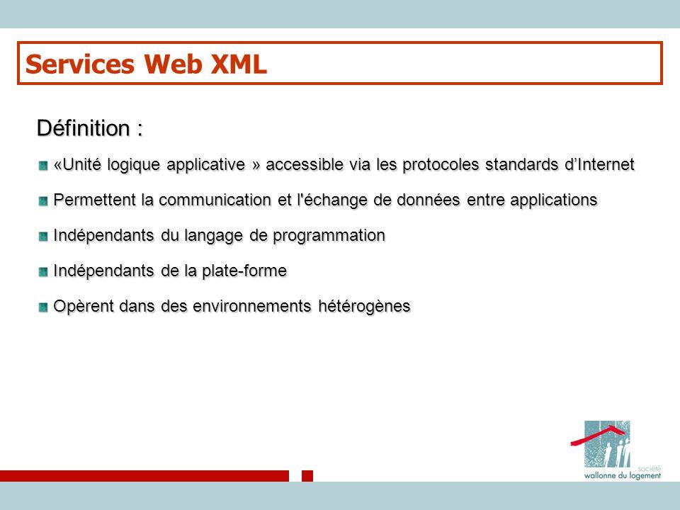Services Web XML Définition : «Unité logique applicative » accessible via les protocoles standards d'Internet «Unité logique applicative » accessible