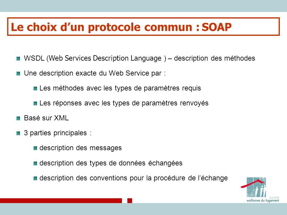 Le choix d'un protocole commun : SOAP WSDL ( Web Services Description Language ) – description des méthodes Une description exacte du Web Service par