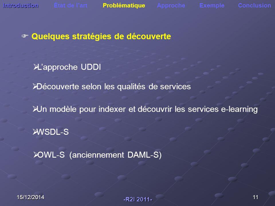 15/12/201411 Introduction Introduction État de l'art Problématique Approche Exemple Conclusion  Quelques stratégies de découverte  L'approche UDDI  Découverte selon les qualités de services  Un modèle pour indexer et découvrir les services e-learning  OWL-S (anciennement DAML-S) -R2I 2011-  WSDL-S