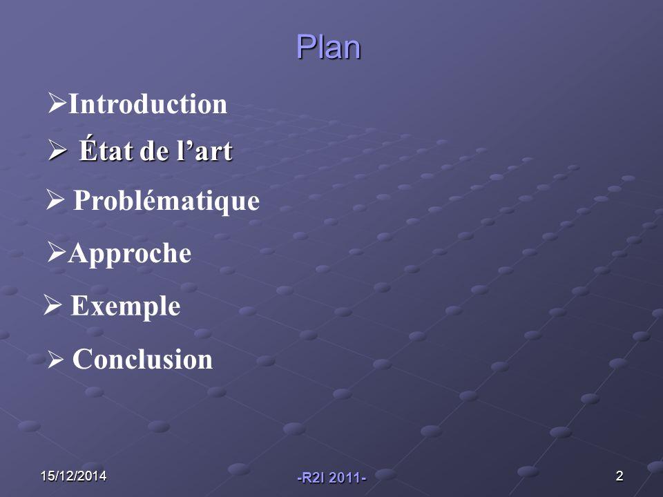 15/12/20142  État de l'art  Problématique  Approche  Introduction Plan  Conclusion  Exemple -R2I 2011-