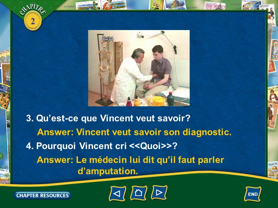 2 1. D'abord que fait le médecin. 2. Que fait Vincent.