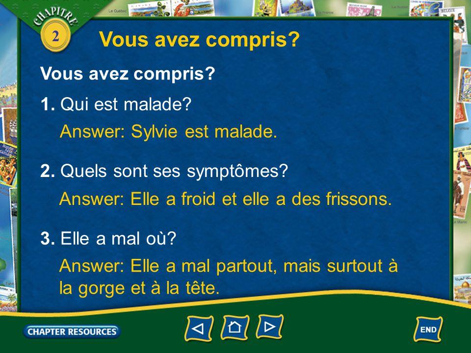 2 Conversation Sylvie: Bonjour, docteur. Médecin: Bonjour, Sylvie.