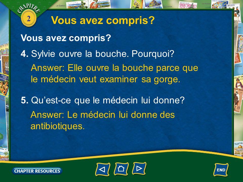 2 1. Qui est malade. Answer: Sylvie est malade. 2.