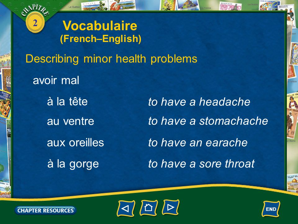 2 to cough Describing minor health problems tousser éternuer to sneeze être enrhumé(e) to have a cold Vocabulaire (French–English)