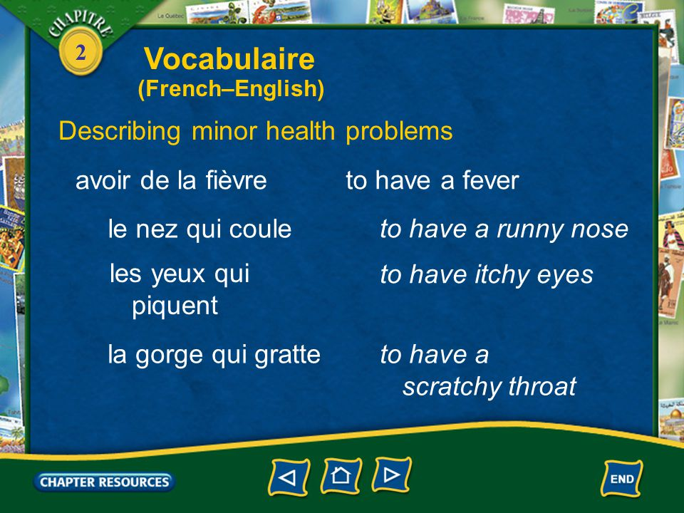 2 to have a headache Describing minor health problems à la tête au ventre to have a stomachache avoir mal aux oreilles à la gorge to have an earache t