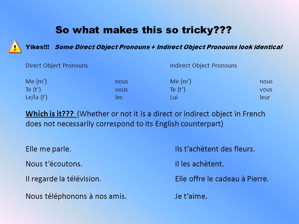 Agreement with Direct Objects What is a direct object and how can you recognize a direct object in French? Remember… 1)Only make agreement with Direct