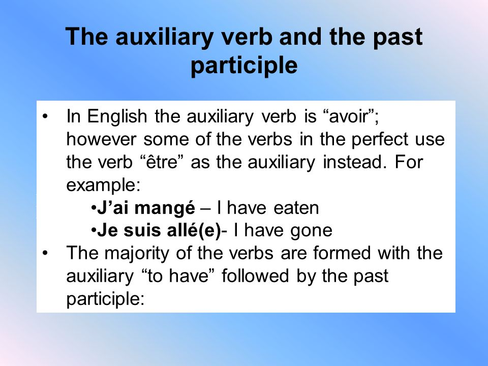 The auxiliary verb and the past participle (-ER) (-IR) (-RE) Drop –er, add e (Chanté)Drop –ir, add i (Fini)Drop –re, add u (Rendu) In English the auxiliary verb is avoir ; however some of the verbs in the perfect use the verb être as the auxiliary instead.