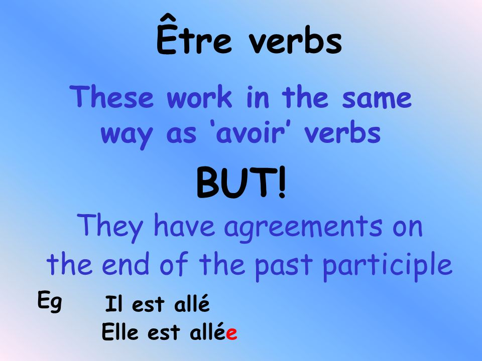 These work in the same way as 'avoir' verbs They have agreements on the end of the past participle BUT.