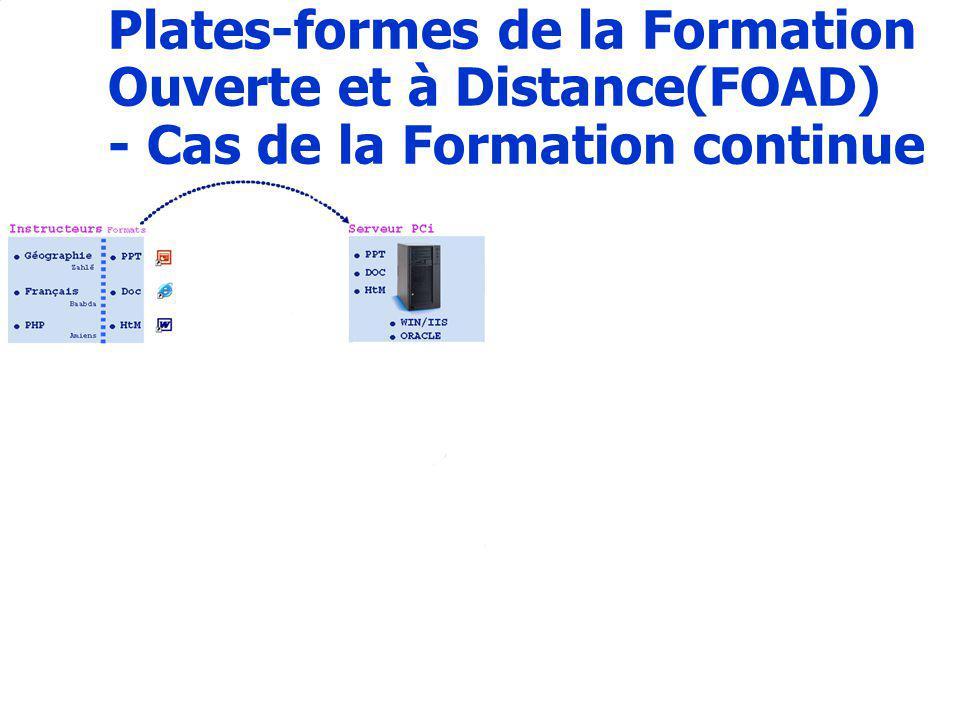 13 Plates-formes de la Formation Ouverte et à Distance(FOAD) - Cas de la Formation continue