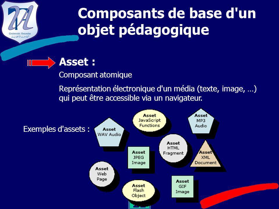 21 Composants de base d un objet pédagogique Asset : Composant atomique Représentation électronique d un média (texte, image, …) qui peut être accessible via un navigateur.