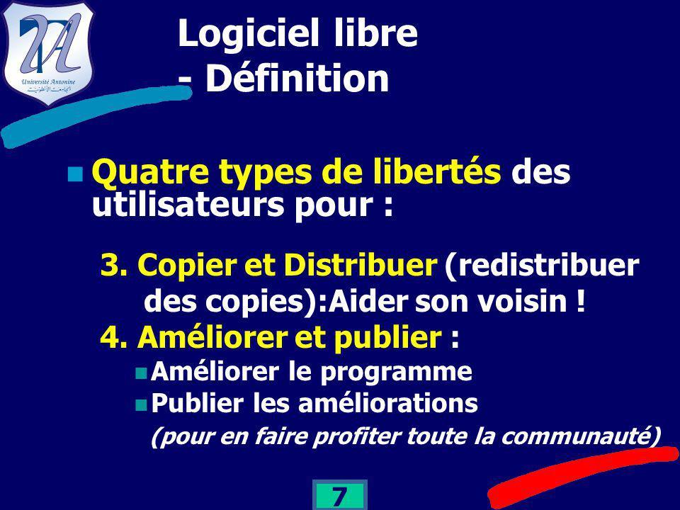 7 Logiciel libre - Définition Quatre types de libertés des utilisateurs pour : 3.