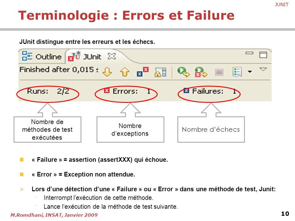 JUNIT 10 M.Romdhani, INSAT, Janvier 2009 JUnit distingue entre les erreurs et les échecs. « Failure » = assertion (assertXXX) qui échoue. « Error » =
