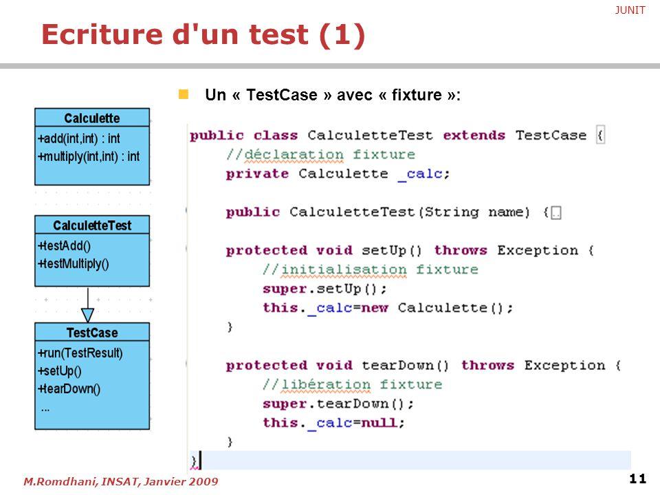 JUNIT 11 M.Romdhani, INSAT, Janvier 2009 Un « TestCase » avec « fixture »: Ecriture d'un test (1)