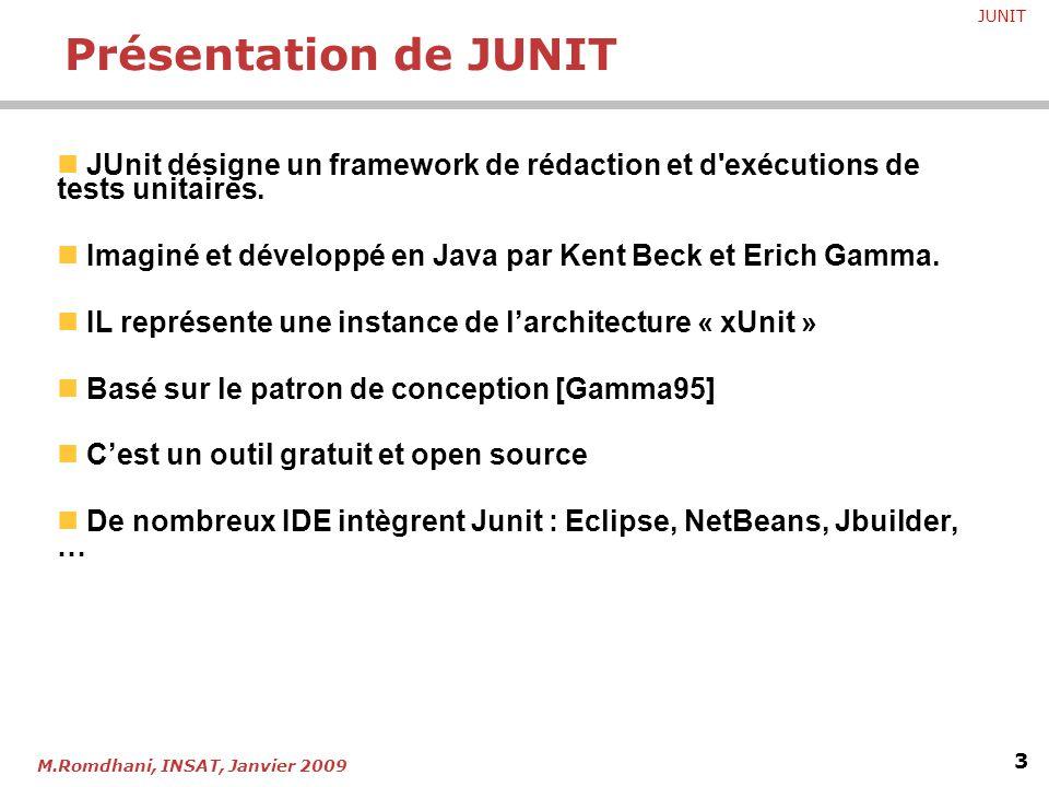 JUNIT 3 M.Romdhani, INSAT, Janvier 2009 JUnit désigne un framework de rédaction et d'exécutions de tests unitaires. Imaginé et développé en Java par K