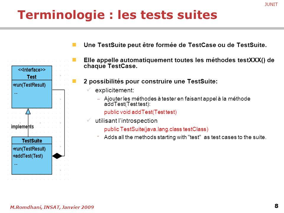 JUNIT 8 M.Romdhani, INSAT, Janvier 2009 Une TestSuite peut être formée de TestCase ou de TestSuite. Elle appelle automatiquement toutes les méthodes t