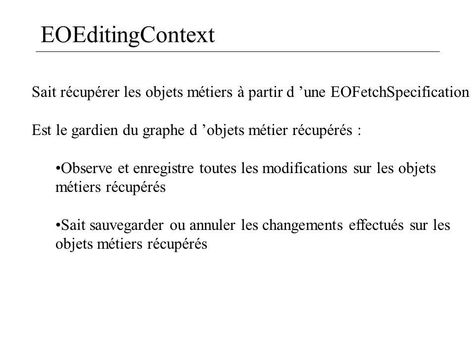 EOEditingContext Sait récupérer les objets métiers à partir d 'une EOFetchSpecification Est le gardien du graphe d 'objets métier récupérés : Observe