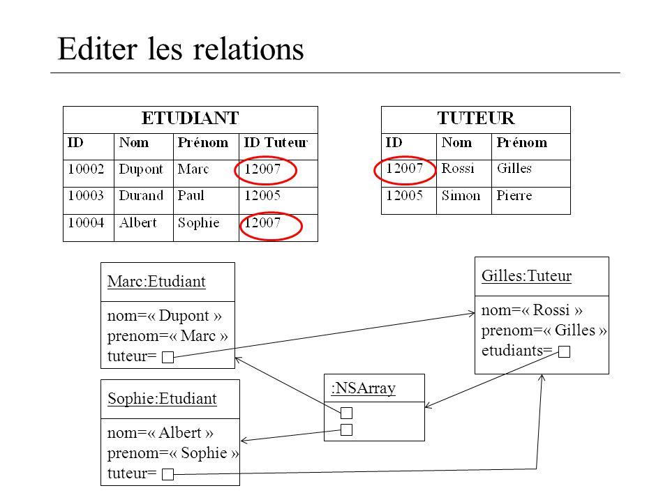 Editer les relations Marc:Etudiant nom=« Dupont » prenom=« Marc » tuteur= Gilles:Tuteur nom=« Rossi » prenom=« Gilles » etudiants= Sophie:Etudiant nom=« Albert » prenom=« Sophie » tuteur= :NSArray