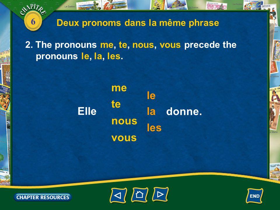 6 Deux pronoms dans la même phrase 2. The pronouns me, te, nous, vous precede the pronouns le, la, les. me te le nous vous la les Elle donne.