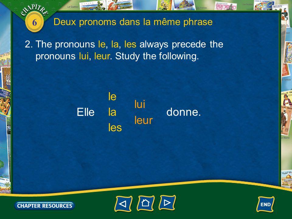 6 Deux pronoms dans la même phrase 2. The pronouns le, la, les always precede the pronouns lui, leur. Study the following. Elle les la le leur lui don