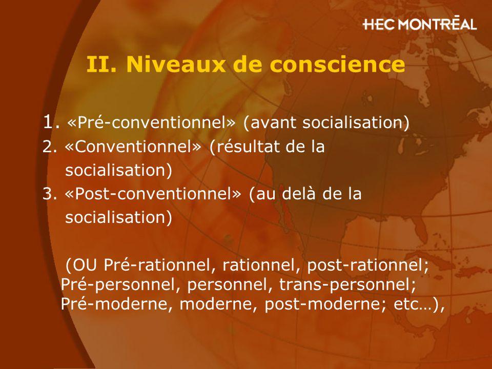 II. Niveaux de conscience 1. «Pré-conventionnel» (avant socialisation) 2. «Conventionnel» (résultat de la socialisation) 3. «Post-conventionnel» (au d