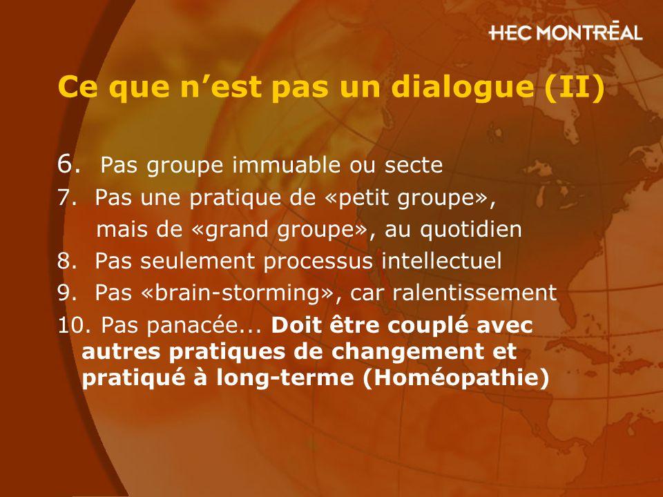 Ce que n'est pas un dialogue (II) 6. Pas groupe immuable ou secte 7. Pas une pratique de «petit groupe», mais de «grand groupe», au quotidien 8. Pas s