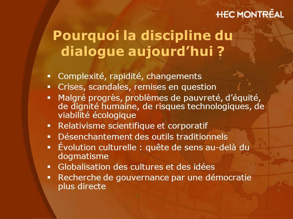 Pourquoi la discipline du dialogue aujourd'hui ?  Complexité, rapidité, changements  Crises, scandales, remises en question  Malgré progrès, problè