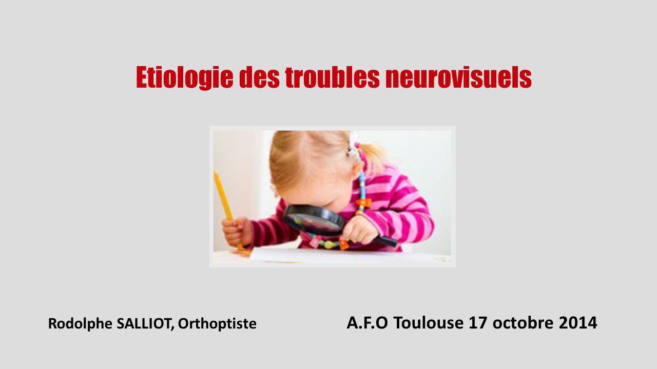 Etiologie des troubles neurovisuels Rodolphe SALLIOT, Orthoptiste A.F.O Toulouse 17 octobre 2014