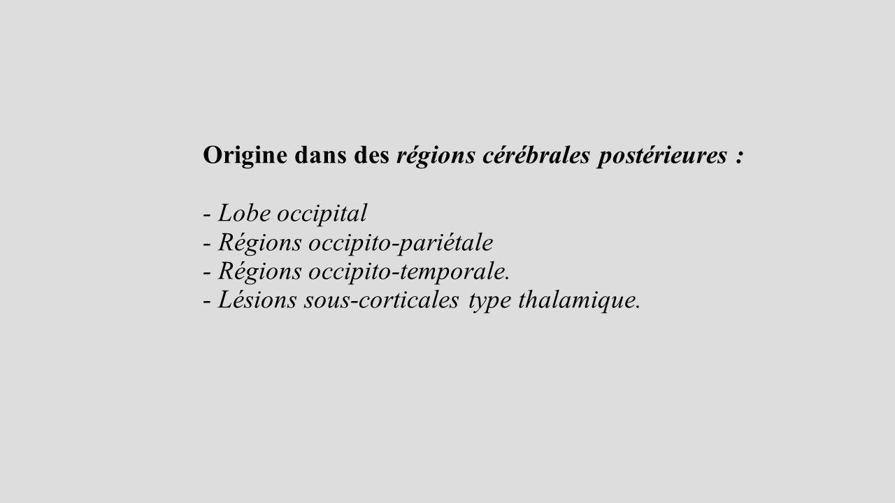 Origine dans des régions cérébrales postérieures : - Lobe occipital - Régions occipito-pariétale - Régions occipito-temporale.