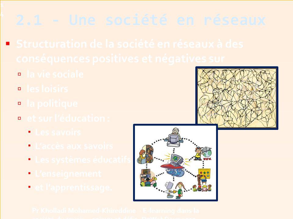  Structuration de la société en réseaux à des conséquences positives et négatives sur  la vie sociale  les loisirs  la politique  et sur l'éducation :  Les savoirs  L'accès aux savoirs  Les systèmes éducatifs  L'enseignement  et l'apprentissage.