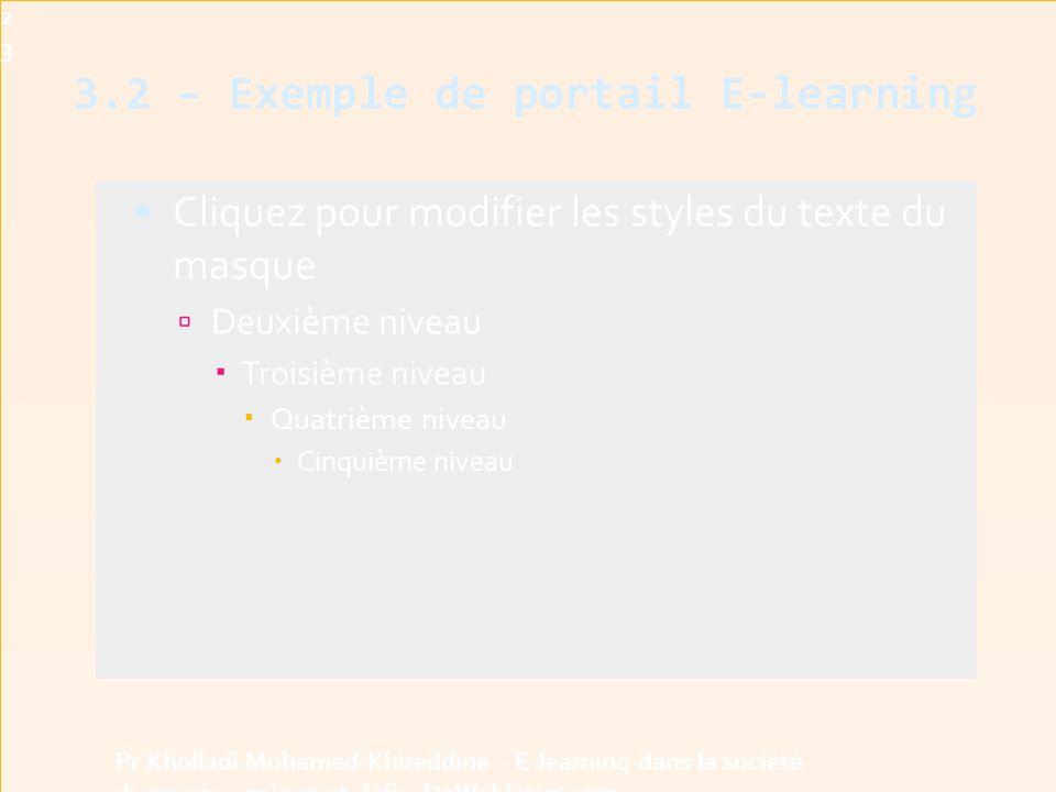 3.2 – Exemple de portail E-learning  Cliquez pour modifier les styles du texte du masque  Deuxième niveau  Troisième niveau  Quatrième niveau  Cinquième niveau23 Pr Kholladi Mohamed-Khireddine - E-learning dans la société du savoir - enjeux et défis -DzWebDays 2012