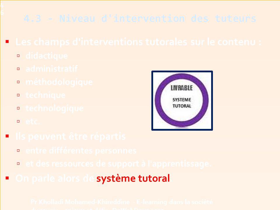  Les champs d interventions tutorales sur le contenu :  didactique  administratif  méthodologique  technique  technologique  etc.