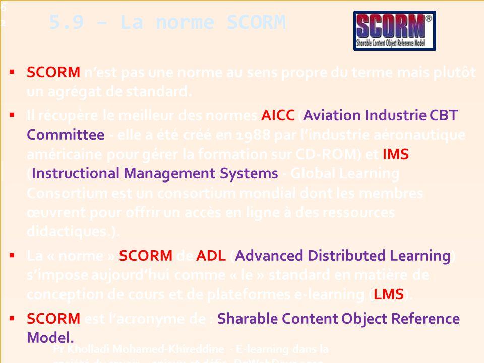  SCORM n'est pas une norme au sens propre du terme mais plutôt un agrégat de standard.