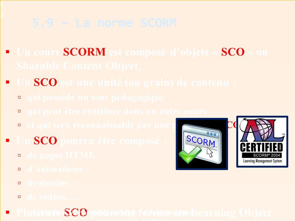  Un cours SCORM est composé d'objets « SCO » ou Sharable Content Object.