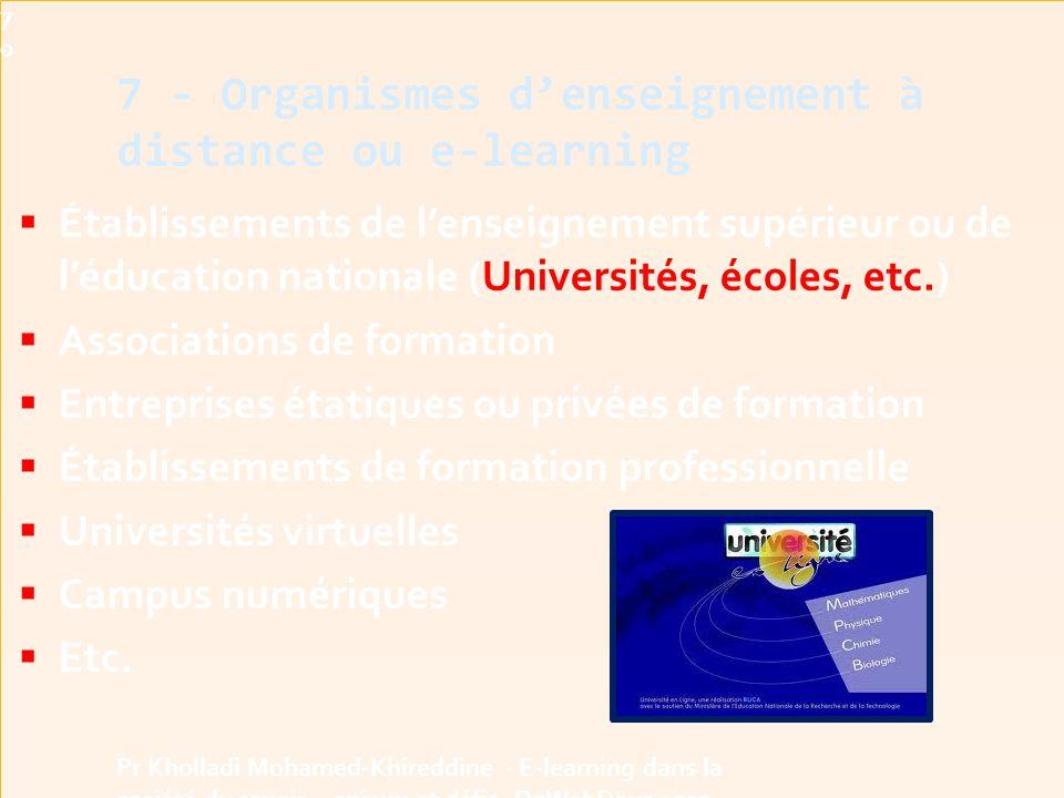 Établissements de l'enseignement supérieur ou de l'éducation nationale (Universités, écoles, etc.)  Associations de formation  Entreprises étatiques ou privées de formation  Établissements de formation professionnelle  Universités virtuelles  Campus numériques  Etc.
