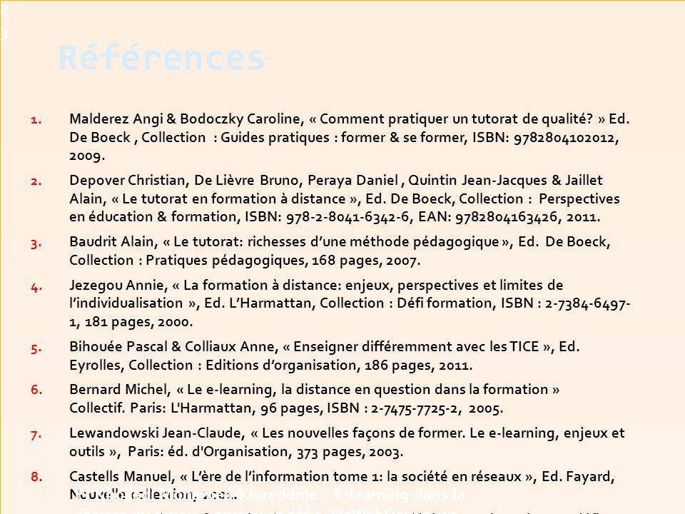 Références 1.Malderez Angi & Bodoczky Caroline, « Comment pratiquer un tutorat de qualité.