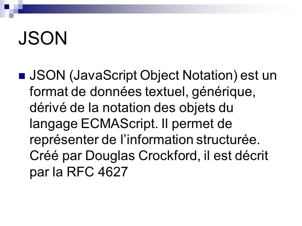 JSON JSON (JavaScript Object Notation) est un format de données textuel, générique, dérivé de la notation des objets du langage ECMAScript.
