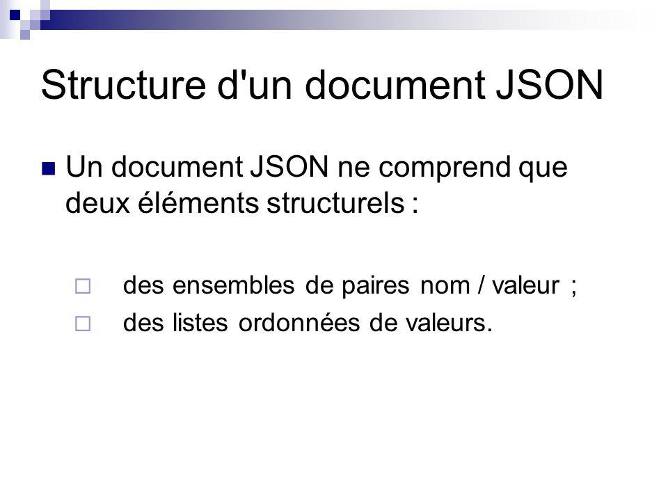 Structure d un document JSON Un document JSON ne comprend que deux éléments structurels :  des ensembles de paires nom / valeur ;  des listes ordonnées de valeurs.