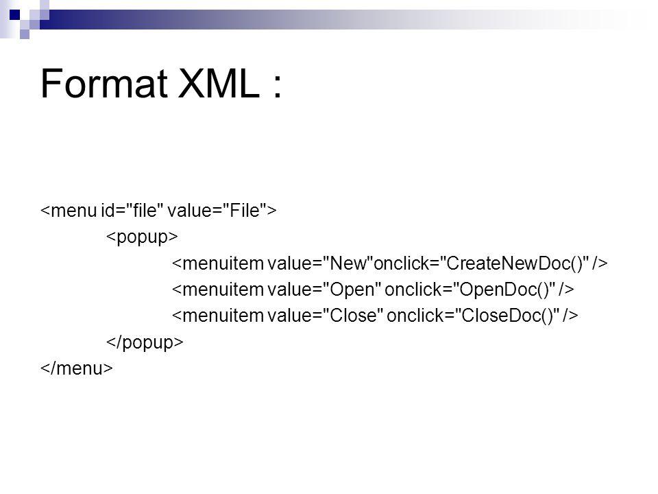 Format XML :