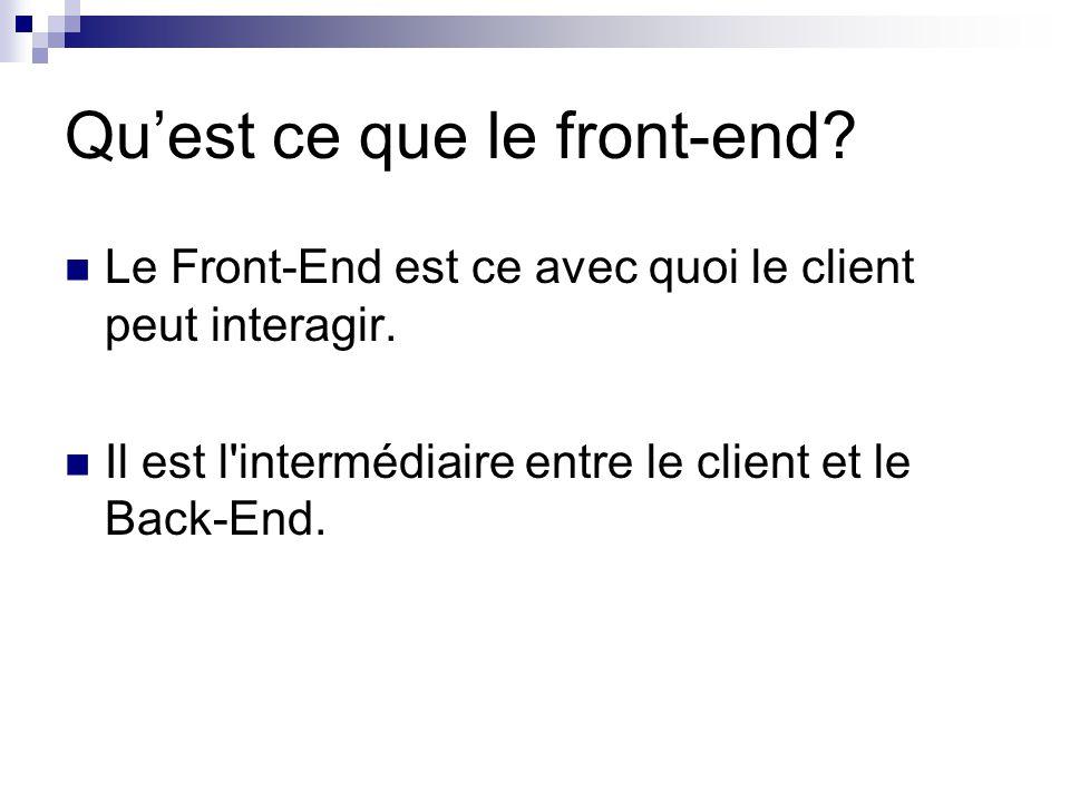 La programmation Front-End Le développement Front-End se fait avec : HTML (hypertext markup language) CSS (cascading style sheets) JavaScript (langage de script) Tous contenu dans le DOM (document object model)