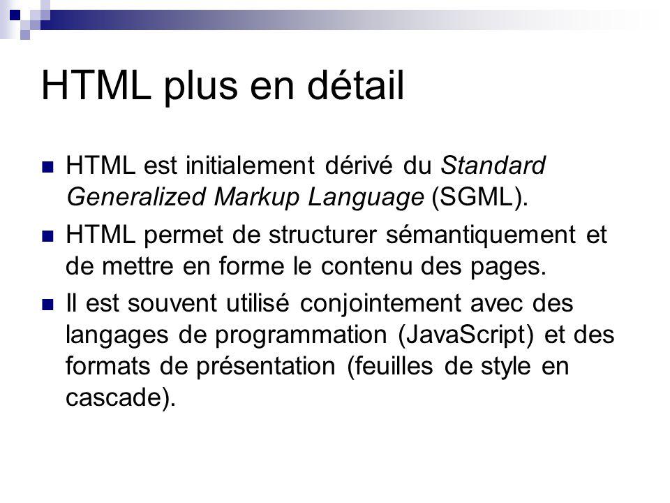 HTML plus en détail HTML est initialement dérivé du Standard Generalized Markup Language (SGML).