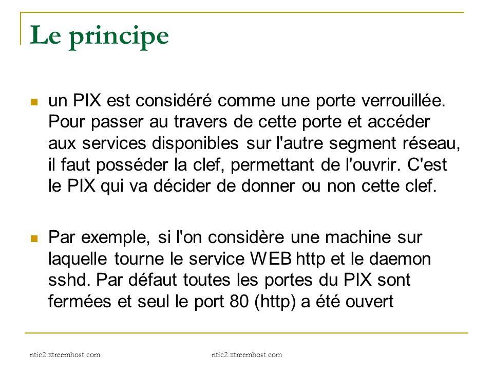 ntic2.xtreemhost.com Le principe un PIX est considéré comme une porte verrouillée. Pour passer au travers de cette porte et accéder aux services dispo