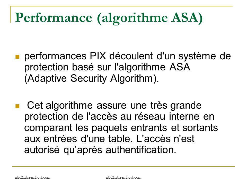 Performance (algorithme ASA) performances PIX découlent d'un système de protection basé sur l'algorithme ASA (Adaptive Security Algorithm). Cet algori