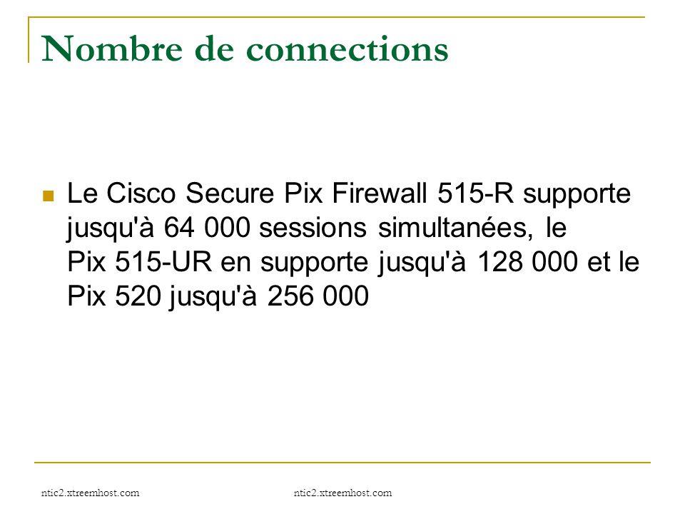 ntic2.xtreemhost.com Nombre de connections Le Cisco Secure Pix Firewall 515-R supporte jusqu'à 64 000 sessions simultanées, le Pix 515-UR en supporte