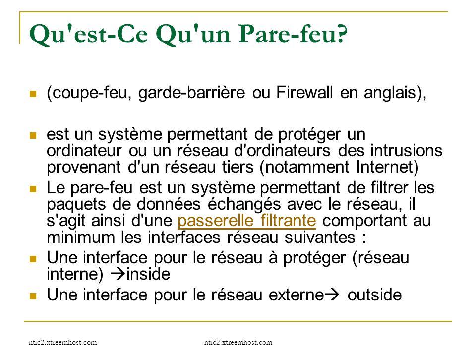 ntic2.xtreemhost.com Qu'est-Ce Qu'un Pare-feu? (coupe-feu, garde-barrière ou Firewall en anglais), est un système permettant de protéger un ordinateur
