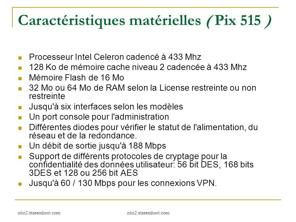 ntic2.xtreemhost.com Caractéristiques matérielles ( Pix 515 ) Processeur Intel Celeron cadencé à 433 Mhz 128 Ko de mémoire cache niveau 2 cadencée à 4